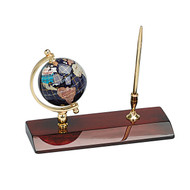 Gemstone Globe and Mahogany Base Pen set