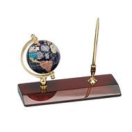 Gemstone Globe and Mahogany Base Pen set