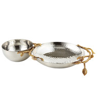 Golden Vine Hammered Chip & Dip Set