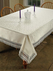 Flower Bow Damask Tablecloth Vintage Lace Design Ivory