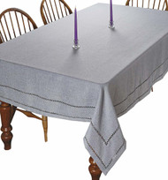 Hem Stitch Tablecloth Embroidered Vintage Design (Grey)