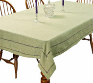Hem Stitch Tablecloth Embroidered Vintage Design (Mint)