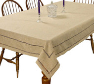 Hem Stitch Tablecloth Embroidered Vintage Design (Oatmeal)
