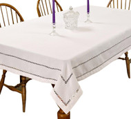 Hem Stitch Tablecloth Embroidered Vintage Design (White)