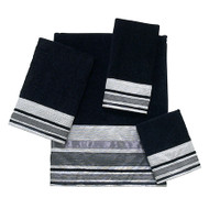 Geneva Wash Cloth, Black/Silver