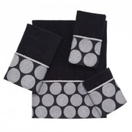 Dotted Circles Black Fingertip Towel