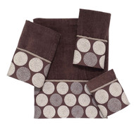 Dotted Circles Mocha Fingertip Towel