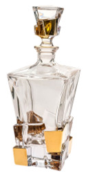 Crystal Square Shaped Decanter with Gold Ice Cube Design