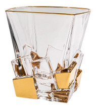 Crystal Set of 6 Square Tumblers Gold Ice Cubes Design