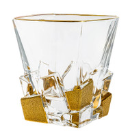 Crystal Set of 6 Square Tumblers Matte Gold Ice Cubes Design