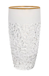 Crystal Set of 6 Hiball Tumblers with Frosted Border and Gold Rim