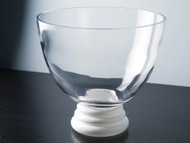 "Glass Footed Bowl with Opal Foot 9.4""D"