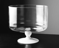 "Glass Trifle Bowl with Opal Foot 9.25""D"