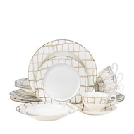 Luxe Gold Bone China Dinnerware (Service for 4)