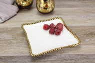 White Gold Bead Salerno Dessert Plate