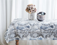 "Grey Marble Tablecloth 70"" x 144"""