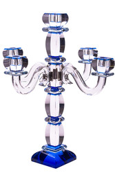 Blue Crystal Candelabra with 5 Jeweled Branches