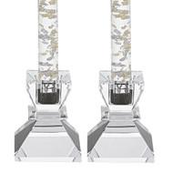Badash Saturn Glass Candlesticks Set