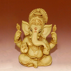 White Figure Ganesha Sitting 5.5""