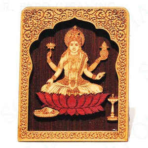 Laser Etched Wood Laxmi with Temple Stand 4""