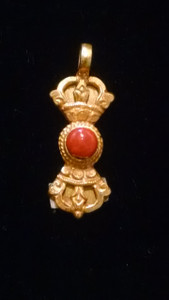Dorje with coral centerpiece, Vajra