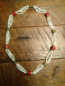 Tibetan Pearl Necklace with Coral & Agate