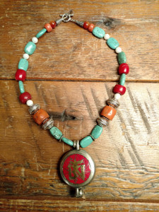 Tibetan Om Amulet with Himalayn Stones