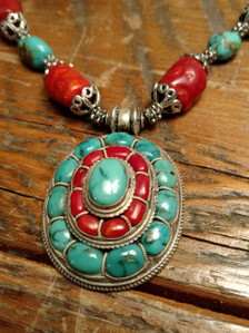 Himalayan Silver Turquoise Coral necklace