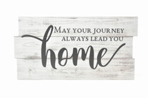 May Your Journey Always Lead You Home Rustic Wood Key Holder 8x16