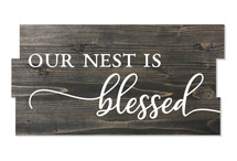 Our Nest Is Blessed Staggered Plank Rustic Wood Sign 8x16