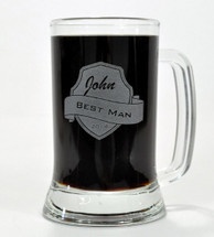 Personalized Engraved 16 Ounce Glass Beer Mug With Shield Design (Sold Individually)