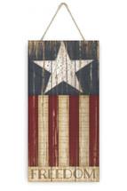 Freedom American Flag Rustic Plank Sign 5x10