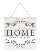 Home Is My Happy Place Wooden Plank Sign 7.5 x 7.5
