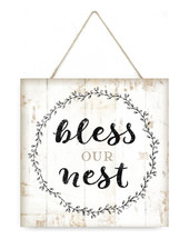 Bless Our Nest Wooden Plank Sign 7x7