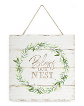 Bless Our Nest Wreath Wooden Plank Sign 7x7