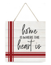 Home Is Where The Heart Is Wooden Plank Sign 7.5 x 7.5