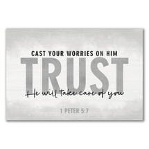 Cast Your Worries On Him Rustic Wood Sign 12x18
