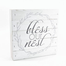 "Bless Our Nest Rustic Wreath Pallet Box Sign 7.5"" x 7.5"""