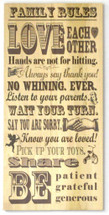 Family Rules Rustic Wood Sign 11x22