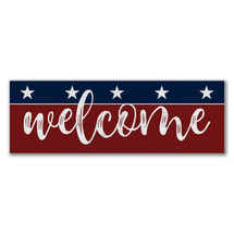 Welcome Rustic Wood Wall Sign 6x18