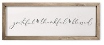 Grateful Thankful Blessed Framed Rustic Wood Farmhouse Wall Sign