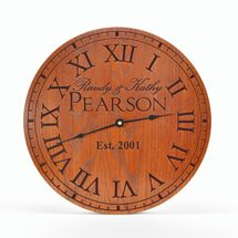 "Personalized Carved Wood Clock 13"", 16"", or 20"""