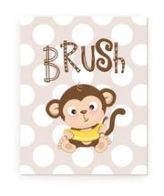Brush Kids Bathroom Monkey Rustic Wood Farmhouse Wall Sign 12x15