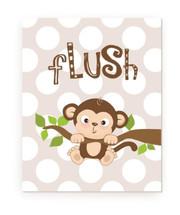 Flush Kids Bathroom Monkey Rustic Wood Farmhouse Wall Sign 12x15