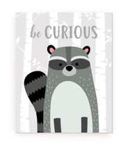 Be Curious Raccoon Kids Bedroom Rustic Wood Farmhouse Wall Sign 12x15