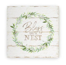 Bless Our Nest Rustic Wood Farmhouse Wall Sign 12x12