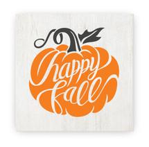 Happy Fall Pumpkin Rustic Wood Farmhouse Wall Sign 12x12