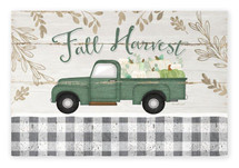 Fall Harvest Antique Truck With Pumpkins Rustic Wood Farmhouse Wall Sign 12x18
