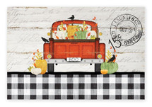 Boo Antique Truck and Pumpkins Rustic Wood Farmhouse Wall Sign 12x18
