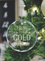 Baby It's Cold Outside Laser Engraved Crystal Ornament With Gift Box